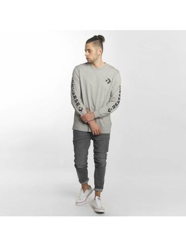 Converse Hombres Camiseta de manga larga Star Chevron Wordmark in gris