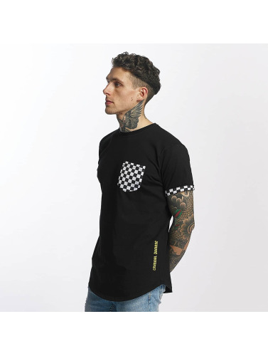 Criminal Damage Hombres Camiseta Chequer Pocket in negro