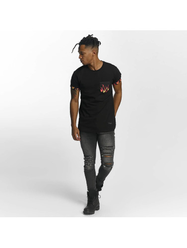 Criminal Damage Hombres Camiseta Flame in negro