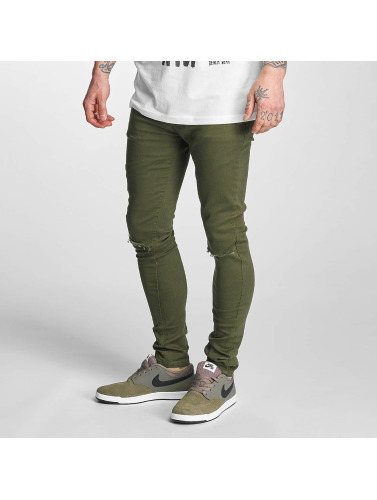 Criminal Damage Herren Skinny Jeans Ripper in olive