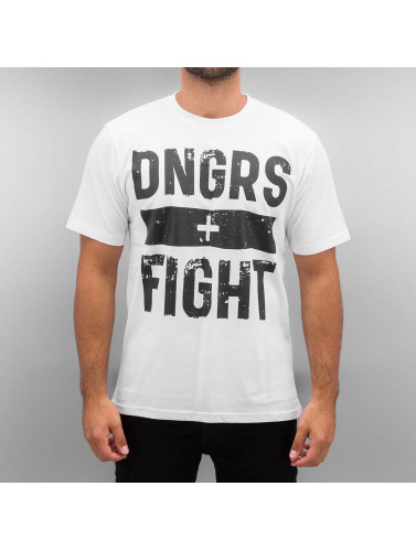 Dangerous DNGRS Hombres Camiseta Fight in blanco