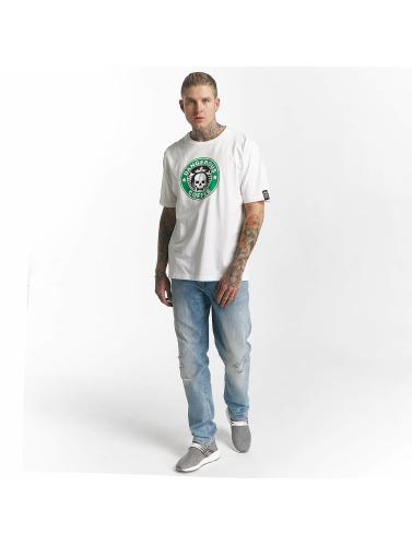 Dangerous DNGRS Hombres Camiseta Coffee in blanco