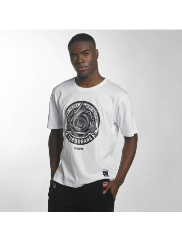 Dangerous DNGRS Hombres Camiseta Race City IIlluminati in blanco