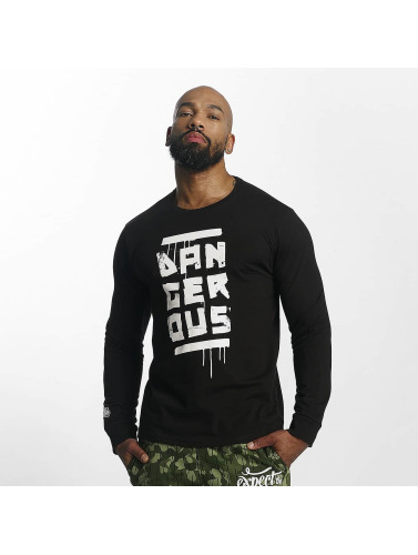Dangerous DNGRS Hombres Camiseta de manga larga Smear in negro