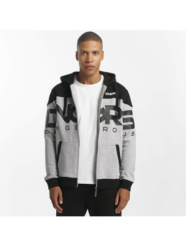 Dangerous DNGRS Hombres Sudaderas con cremallera Two Tone in gris