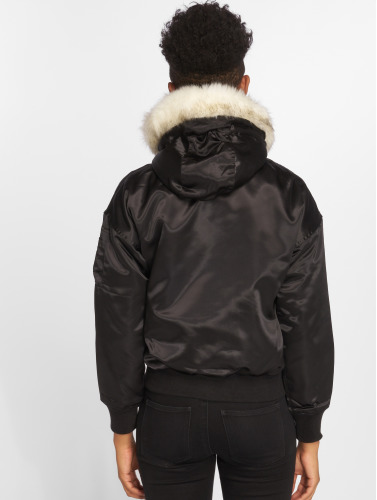 DEF Damen Bomberjacke Fake Fur in schwarz
