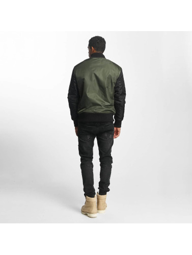 DEF Hombres Cazadora bomber Two Tone in oliva