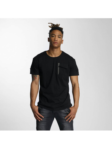 DEF Herren T-Shirt Leats in schwarz