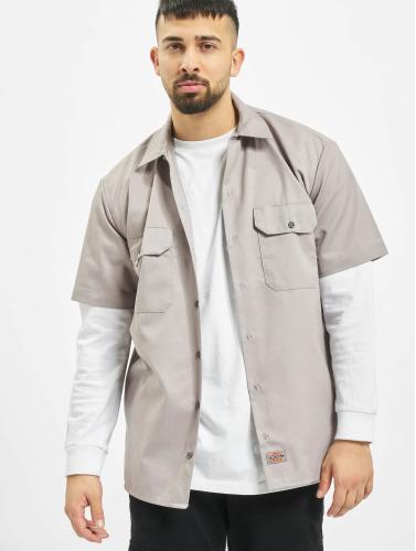 Dickies Hombres Camisa Shorts Sleeve Work in gris