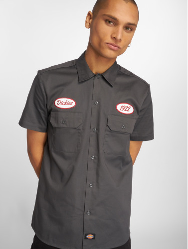 Dickies Hombres Camisa Rotonda South in gris