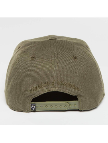 Distorted People Snapback Cap Barber & Butcher in olive