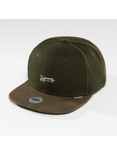 Djinns Snapback Cap 6 Panel Piki Leather in braun