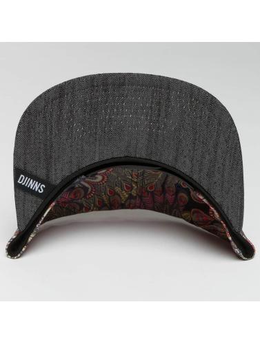Djinns Snapback Cap Peacock Linen 6 Panel in schwarz
