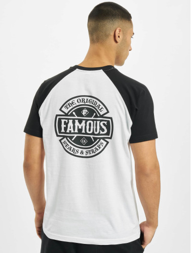 Famous Stars and Straps Hombres Camiseta Chaos Patch Raglan in blanco