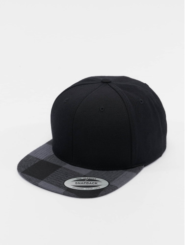 Flexfit Snapback Cap Cheched Flanell Peak in schwarz
