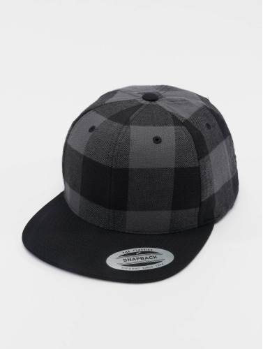 Flexfit Snapback Cap Checked Flanell in schwarz