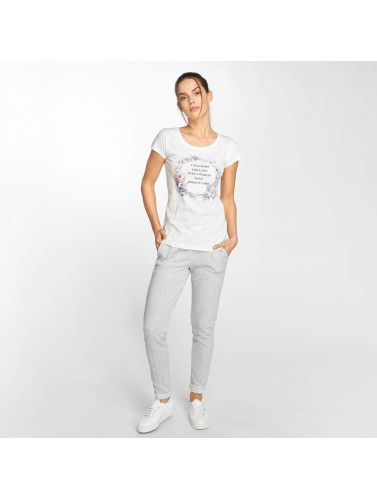 Fresh Made Mujeres Camiseta Flower Print in blanco