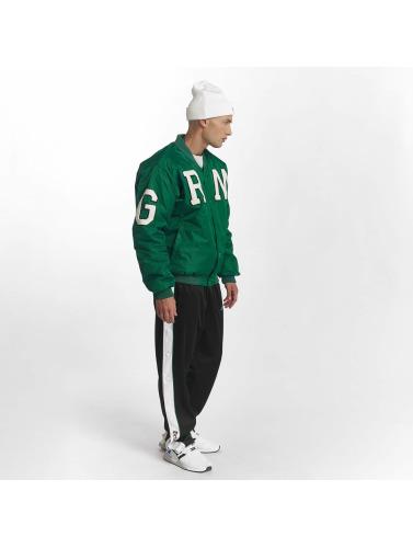 Grimey Wear Hombres Chaqueta de béisbol Jade Lotus Satin in verde