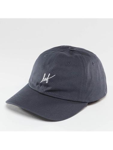HUF Snapback Cap Script Logo Curve Brim in blau
