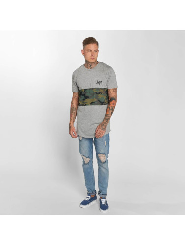 HYPE Hombres Camiseta Camo Panel in gris