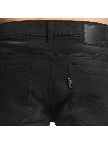ID Denim Herren Straight Fit Jeans Skinny Low Rise Tapered Leg in schwarz