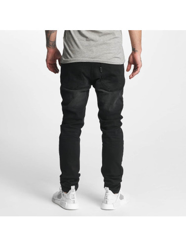 ID Denim Hombres Vaqueros rectos Skinny Low Rise Tapered Leg in negro