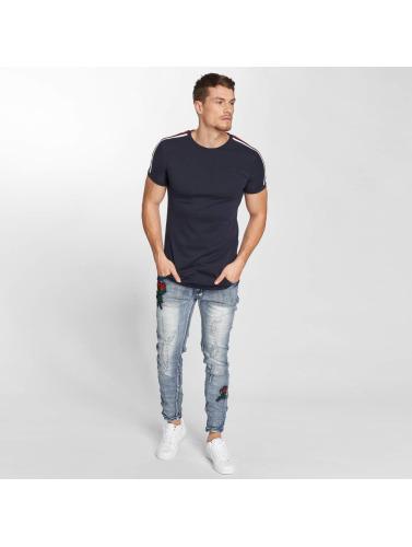 John H Hombres Camiseta Stripe in azul