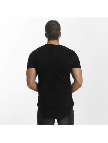 John H Hombres Camiseta Ripped in negro