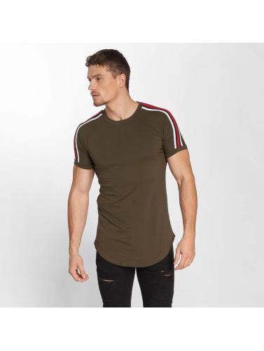 John H Hombres Camiseta Stripe in verde