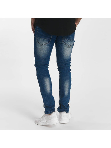 John H Hombres Jeans ajustado Diagonal Splatters in azul