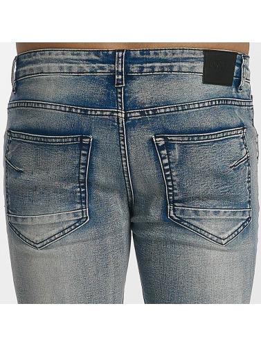 John H Hombres Jeans ajustado Destroyed in azul