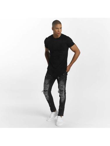 John H Hombres Jeans ajustado Color Blobs in negro
