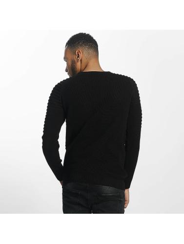 John H Herren Pullover Knit Ribbed in schwarz