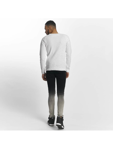John H Herren Pullover Knit Ribbed in weiß