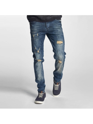 Just Rhyse Herren Straight Fit Jeans Destroyed in blau