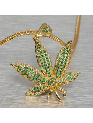 KING ICE Kette Jungl Julz Weed Leaf in goldfarben