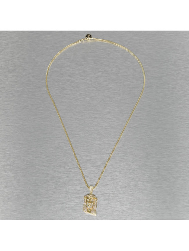 KING ICE Kette Small Solid Jesus in goldfarben
