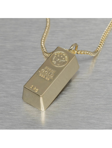 KING ICE Kette Bar Brick in goldfarben
