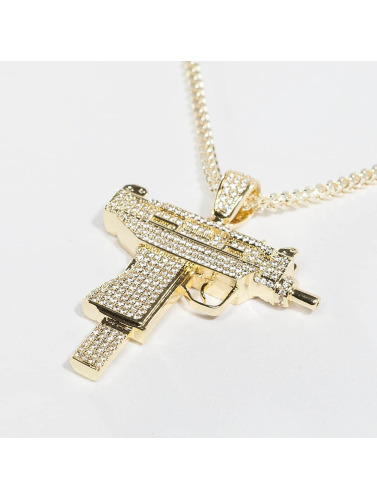 KING ICE Kette Gold_Plated CZ Uzi in goldfarben