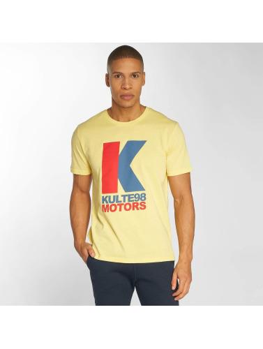 Kulte Hombres Camiseta Motor in amarillo