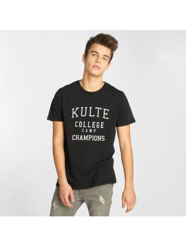 Kulte Hombres Camiseta Corpo College Champion in negro