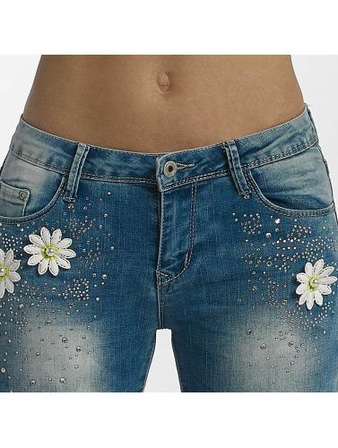 Leg Kings Damen Skinny Jeans Flower in blau