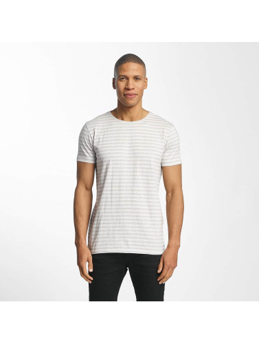 Lindbergh Hombres Camiseta Striped Mouline in gris
