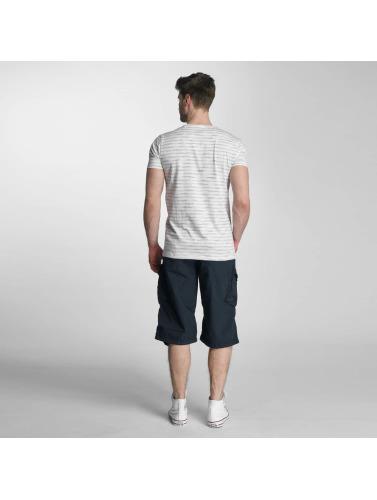 Lindbergh Herren T-Shirt Yarn Dyed Striped in grau