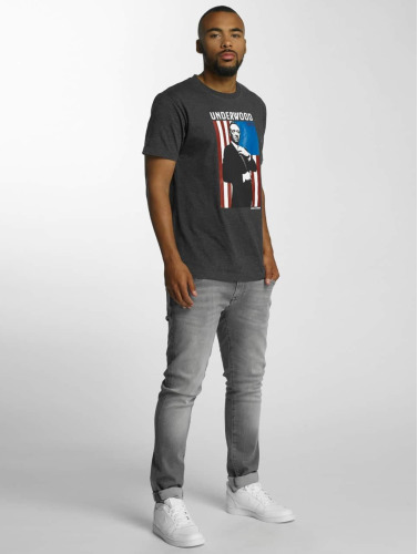 Merchcode Hombres Camiseta House Of Cards Contrast Flag in gris