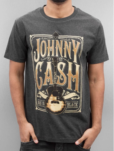 Merchcode Herren T-Shirt Johnny Cash Man In Black in grau