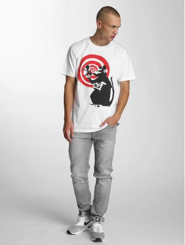 Merchcode Herren T-Shirt Banksy Spy Rat in weiß