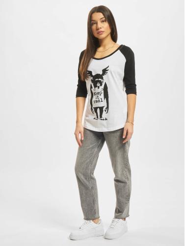 Merchcode Damen T-Shirt Ladies Banksy Ape Raglan in weiß