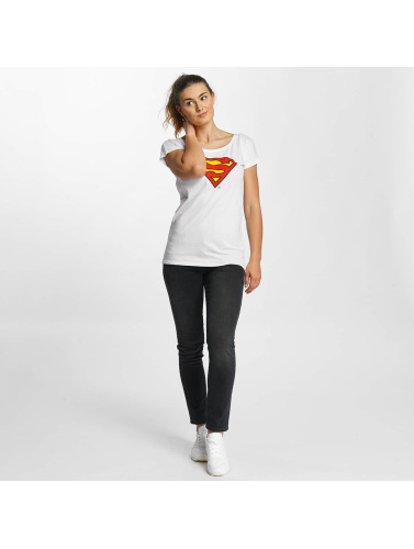 Merchcode Damen T-Shirt Superman Logo in weiß