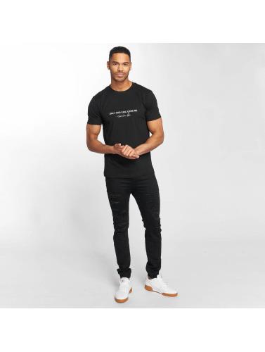 Mister Tee Hombres Camiseta Tupac Cross in negro